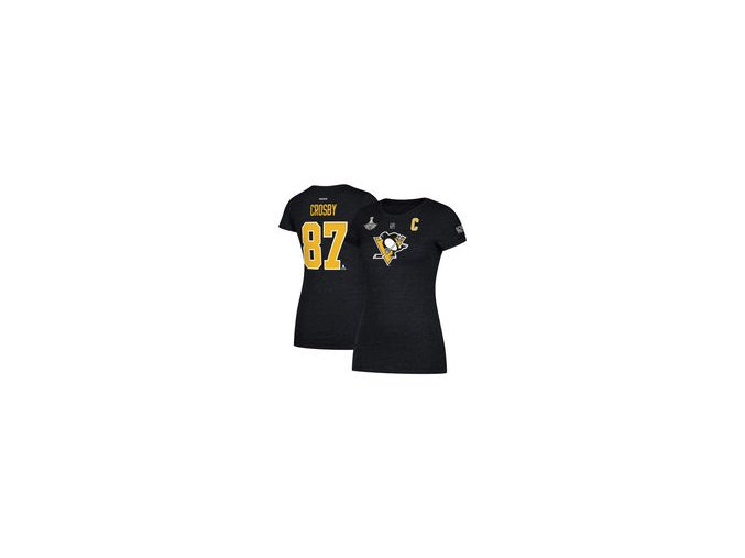 Dámské tričko Sidney Crosby Pittsburgh Penguins Reebok Women's 2017 Stanley Cup Champions Replica Name & Number T-Shirt - Black