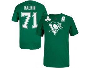 Tričko - Pittsburgh Penguins  Evgeni Malkin  St. Patricks - Kelly Green