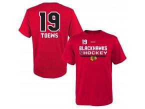 Dětské tričko Jonathan Toews Chicago Blackhawks NHL Name & Number (Velikost 4 roky, Distribuce USA)