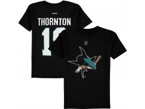 Dětské tričko Joe Thornton San Jose Sharks NHL Name & Number (Velikost Dětské L (11 - 12 let), Distribuce USA)