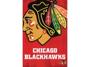 NHL Plakát Chicago Blackhawks Team Logo Cut