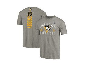 Tričko Sidney Crosby Pittsburgh Penguins Fanatics Branded 2017 Stanley Cup Champions Glove Backer Tri-Blend T-Shirt - Heathered Gray