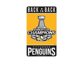 """Pittsburgh Penguins WinCraft 2017 Stanley Cup Champions 7"""" x 12"""" Small Champ Sign"""
