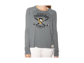 Dámské tričko Pittsburgh Penguins Original Retro Brand Women's 2017 Stanley Cup Champions Relaxed Raglan Long Sleeve T-Shirt - Gray