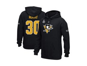 Mikina Matt Murray Pittsburgh Penguins Reebok 2017 Stanley Cup Champions Replica Name & Number Pullover Hoodie - Black