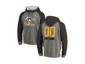 Mikina Pittsburgh Penguins Fanatics Branded 2017 Stanley Cup Champions Personalized Glove Tri-Blend Raglan Pullover Hoodie - Heather Gray