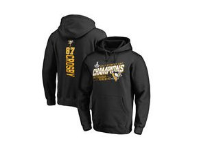 Mikina Sidney Crosby Pittsburgh Penguins Fanatics Branded 2017 Stanley Cup Champions Extra Backer Long Sleeve Hooded T-Shirt - Black