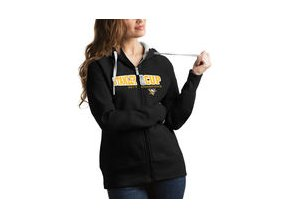 Dámská mikina Pittsburgh Penguins Antigua Women's 2017 Stanley Cup Champions Tempo Quarter-Zip Pullover Desert Dry Jacket - Black/Gold