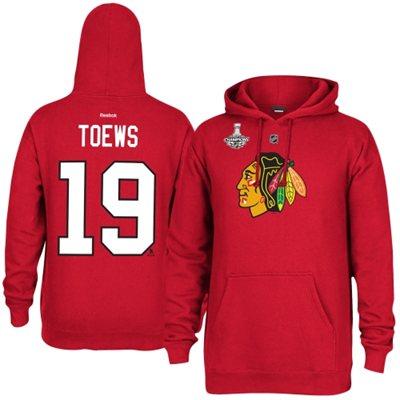 Reebok Mikina - #19 Jonathan Toews - Chicago Blackhawks 2015 Stanley Cup Champions Player Hoodie Velikost: S