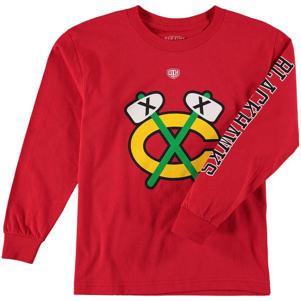 Dětské tričko Chicago Blackhawks Old Time Hockey Two Hit Long Sleeve - vintage logo Velikost: Dětské S (6 - 8 let)