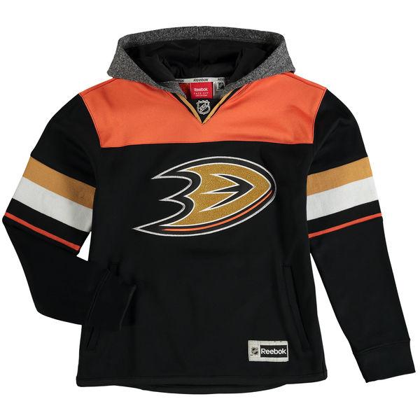Reebok Dětská mikina Anaheim Ducks Faceoff Jersey Hoodie Velikost: Dětské L (11 - 12 let), Distribuce: USA