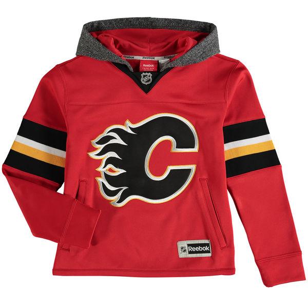 Reebok Dětská mikina Calgary Flames Faceoff Jersey Hoodie Velikost: Dětské L (11 - 12 let), Distribuce: USA