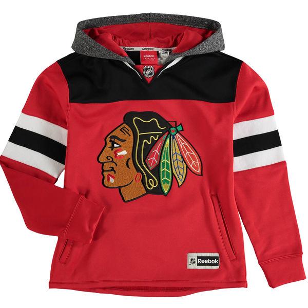 Reebok Dětská mikina Chicago Blackhawks Faceoff Jersey Hoodie Velikost: Dětské L (11 - 12 let), Distribuce: USA