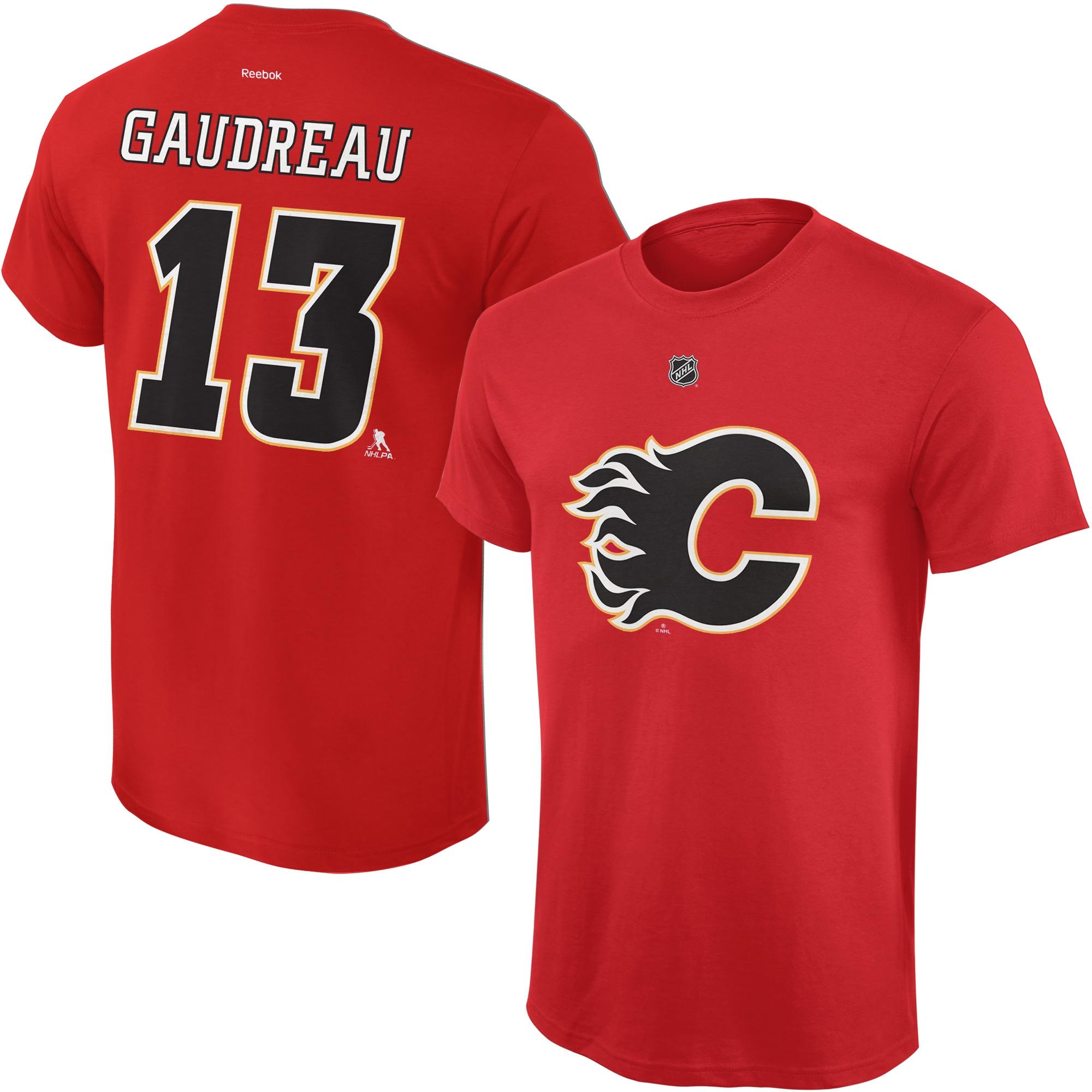 Reebok Dětské tričko Johnny Gaudreau Calgary Flames NHL Name & Number Velikost: Dětské M (9 - 11 let)