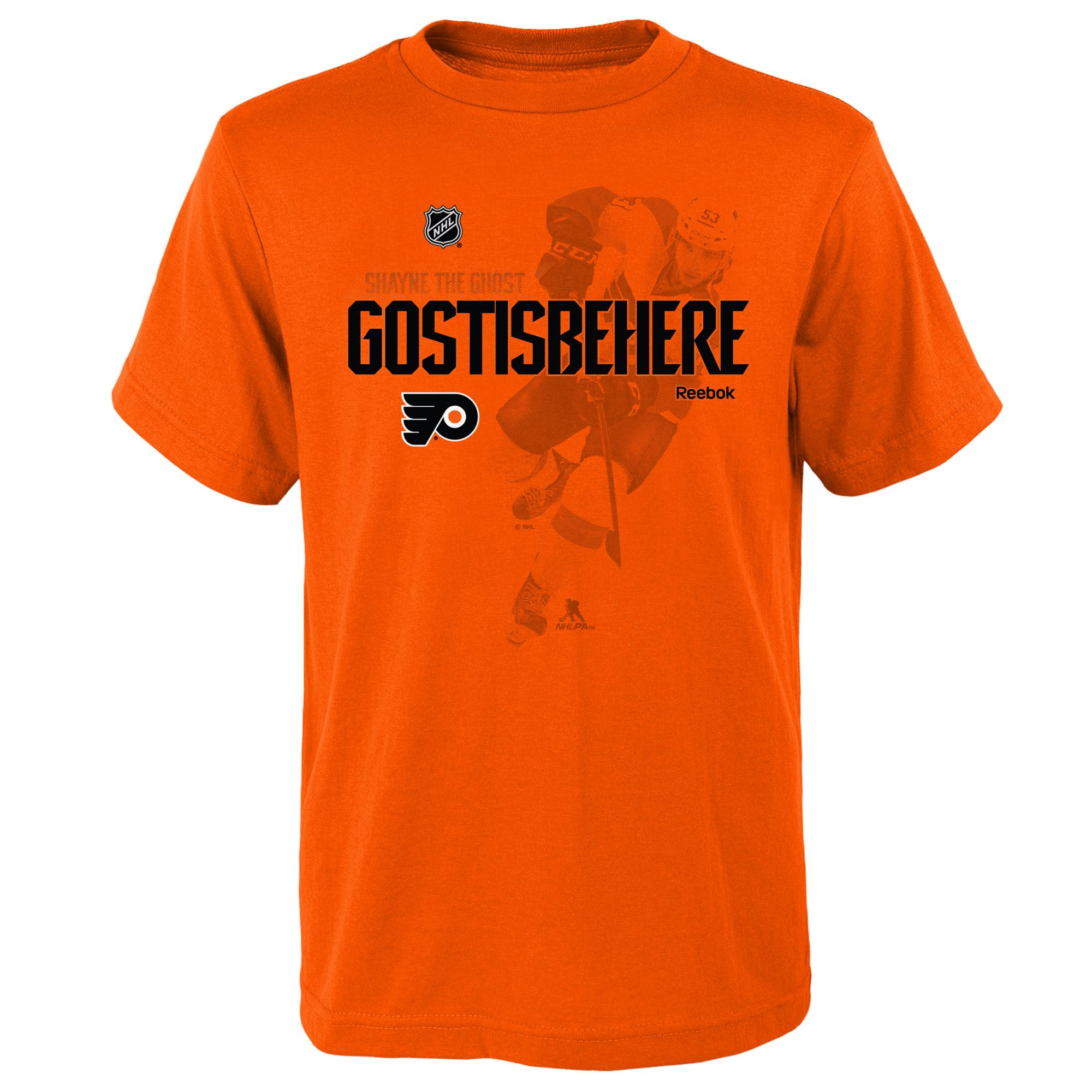 Reebok Dětské tričko Shayne Gostisbehere Philadelphia Flyers NHL Name & Number Velikost: Dětské M (9 - 11 let)