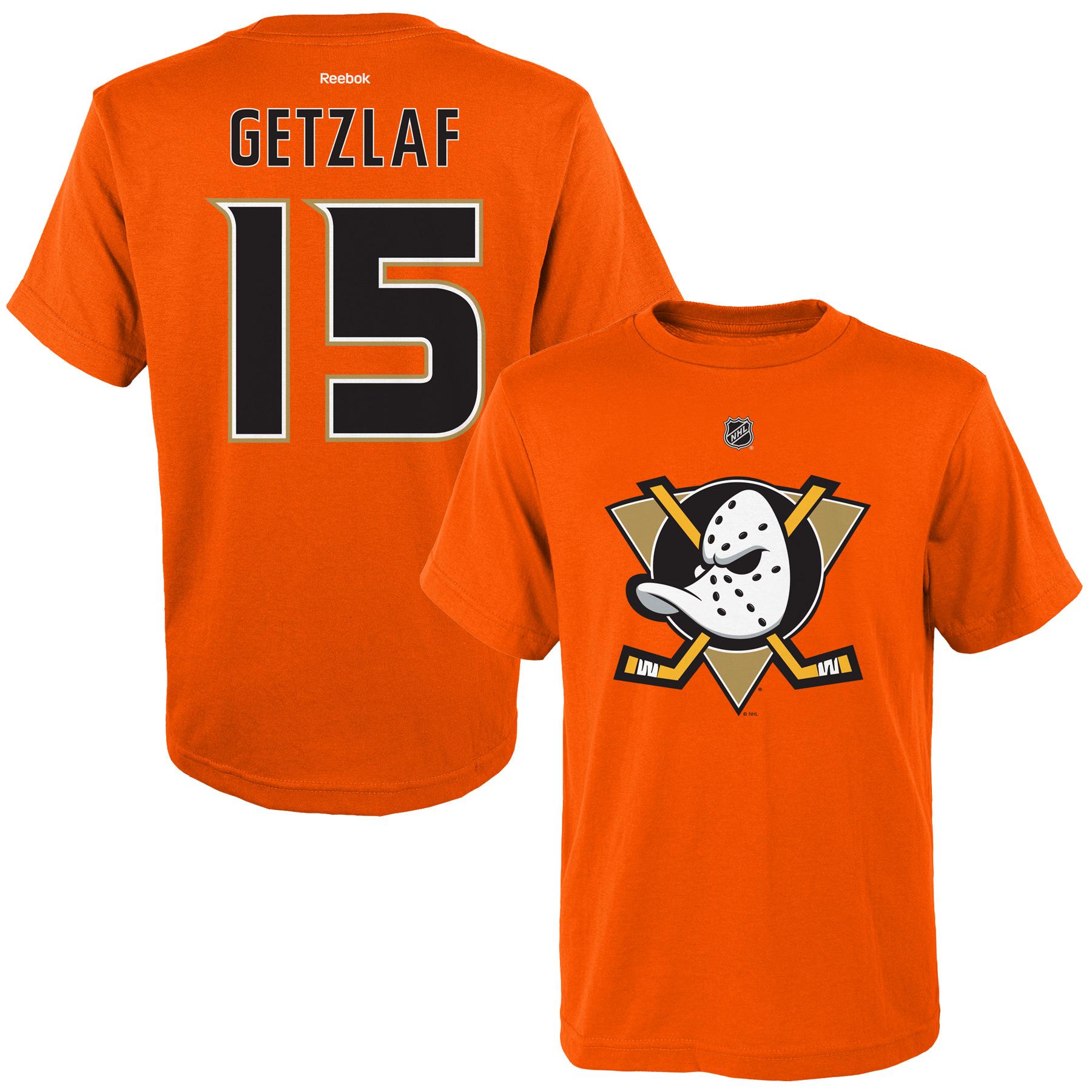 Reebok Dětské tričko Ryan Getzlaf Anaheim Ducks NHL Name & Number Velikost: Dětské M (9 - 11 let)