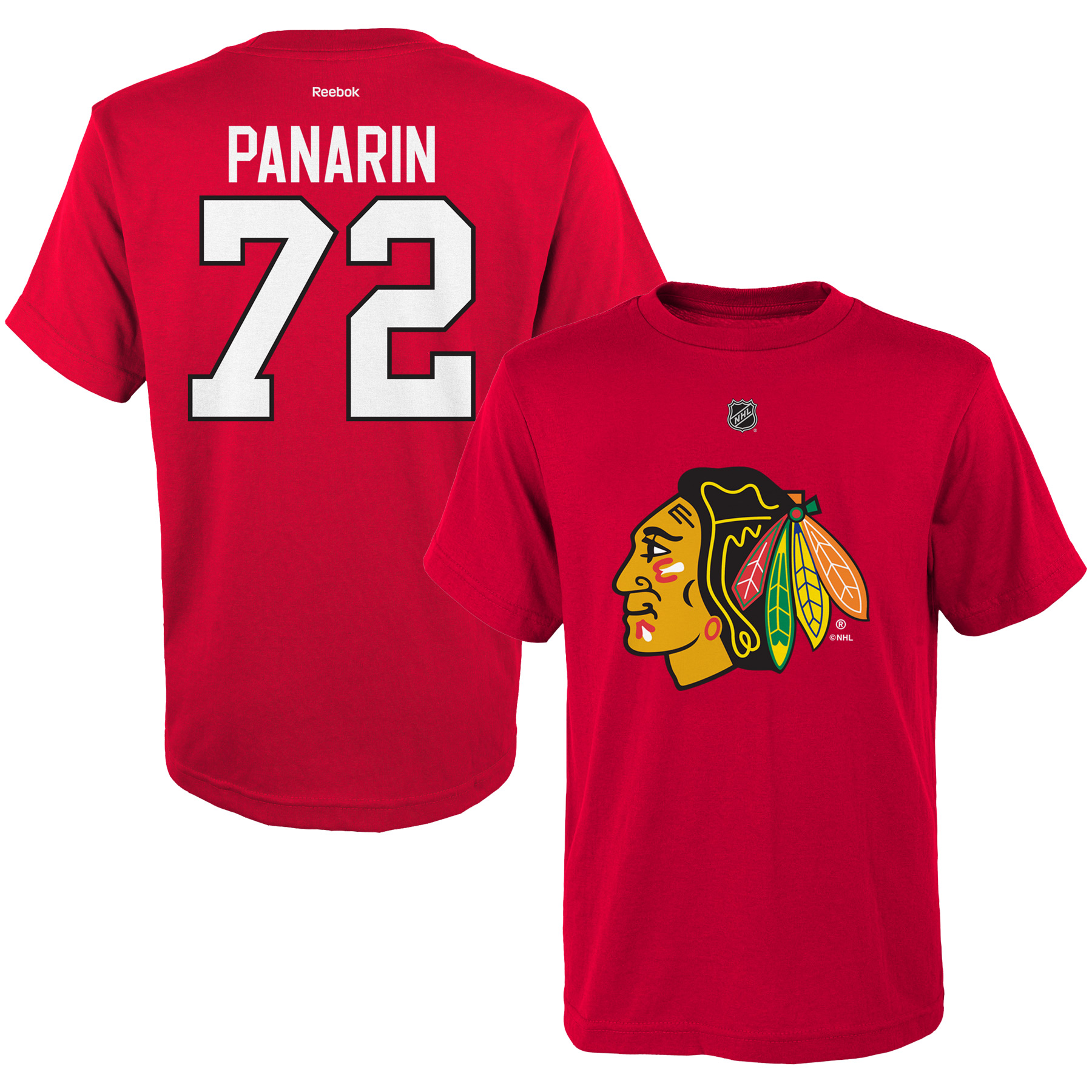 Reebok Dětské tričko Artemi Panarin Chicago Blackhawks NHL Name & Number Velikost: Dětské M (9 - 11 let)