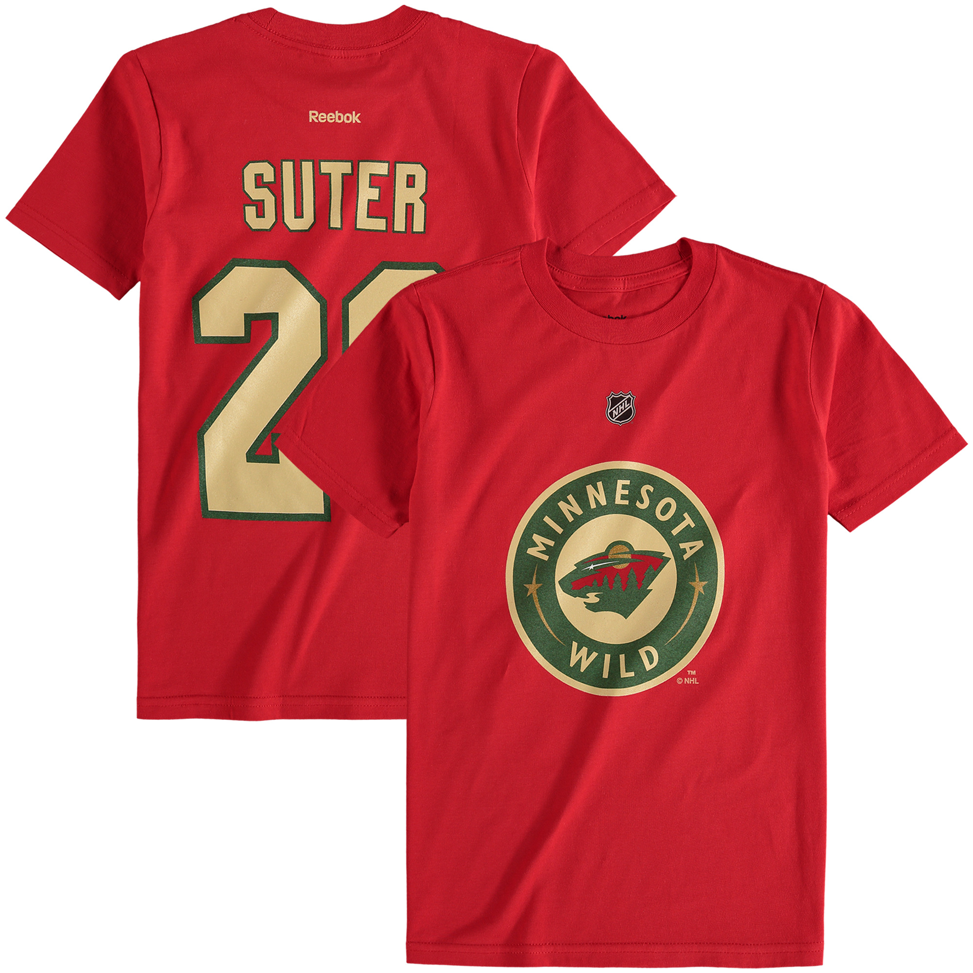 Reebok Dětské tričko Ryan Suter Minnesota Wild NHL Name & Number Velikost: Dětské M (9 - 11 let)