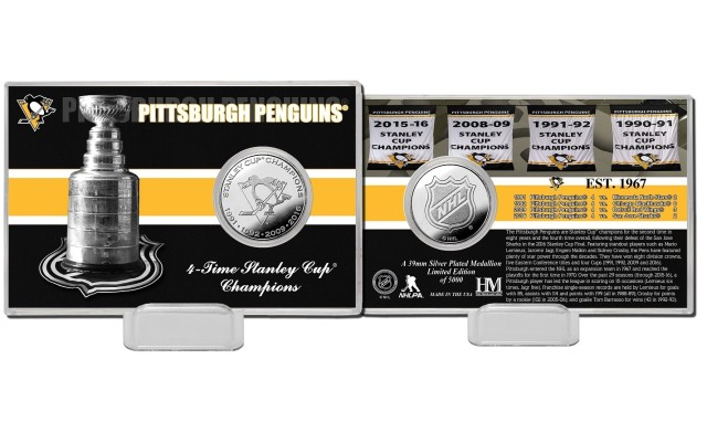 Pamětní Mince Pittsburgh Penguins Stanley Cup Champions 2016 Silver Coin Card