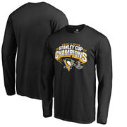 Tričko Pittsburgh Penguins Fanatics Branded 2017 Stanley Cup Champions Slapshot Long Sleeve T-Shirt - Black Velikost: 3XL