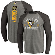 Tričko Pittsburgh Penguins Fanatics Branded 2017 Stanley Cup Champions Glove Backer Long Sleeve Raglan T-Shirt - Heathered Gray/Heathered Navy Velikost: 3XL