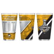 Boelter Sklenička Pittsburgh Penguins 16oz. 2017 Stanley Cup Champions Sublimated Summary Pint Glass