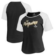 Dámské tričko Pittsburgh Penguins Fanatics Branded Women's 2017 Stanley Cup Champions Hat Trick Tri-Blend Raglan T-Shirt - Black Velikost: L