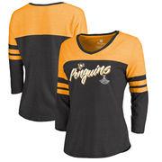 Dámské tričko Pittsburgh Penguins Fanatics Branded 2017 Stanley Cup Champions Hat Trick Long Sleeve Raglan T-Shirt - Heathered Black Velikost: L