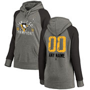 Dámská mikina Pittsburgh Penguins Fanatics Branded Women's 2017 Stanley Cup Champions Personalized Glove Tri-Blend Raglan Pullover Hoodie - Heather Gray Velikost: XXL